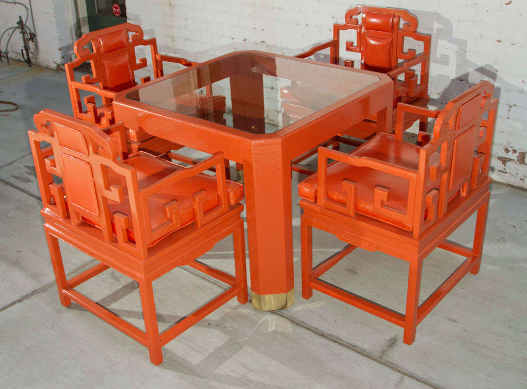 Chinoiserie Orange Lacquer Dining Set 2