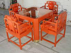 Chinoiserie Orange Lacquer Dining Set image 2