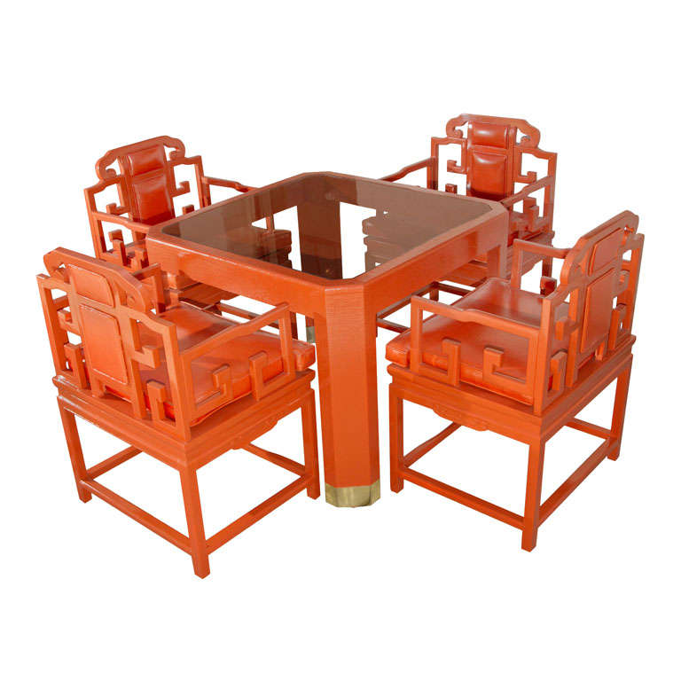 Chinoiserie Orange Lacquer Dining Set