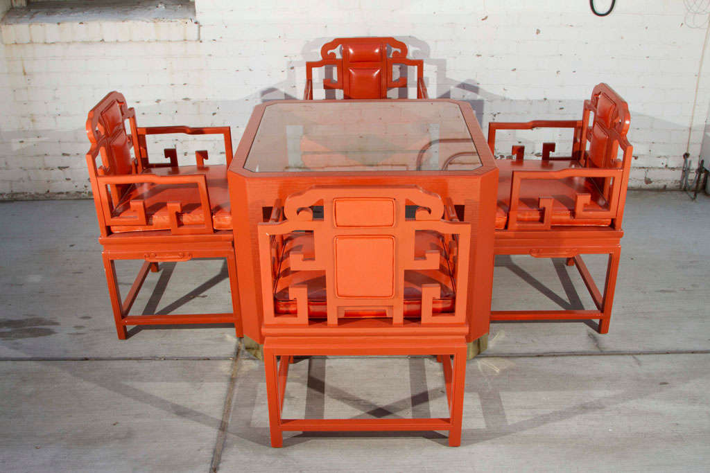 Chinoiserie Orange Lacquer Dining Set 3