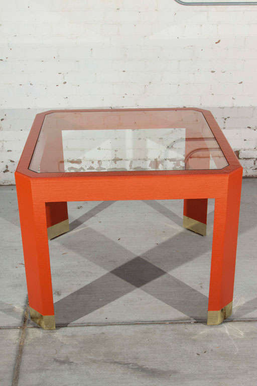 Chinoiserie Orange Lacquer Dining Set 4