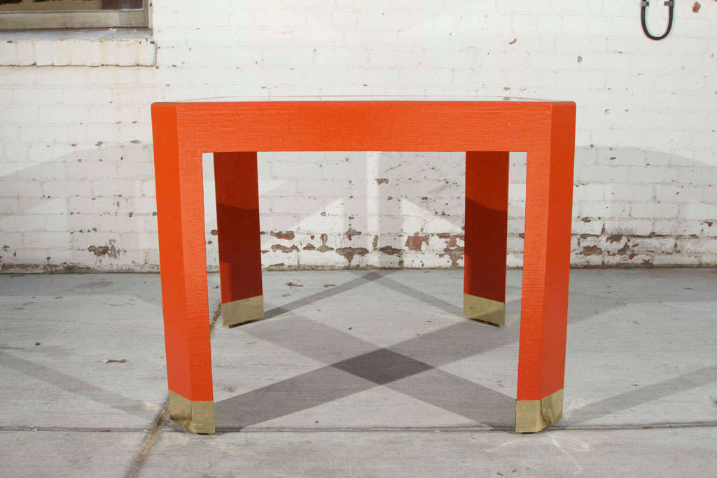 Chinoiserie Orange Lacquer Dining Set 6