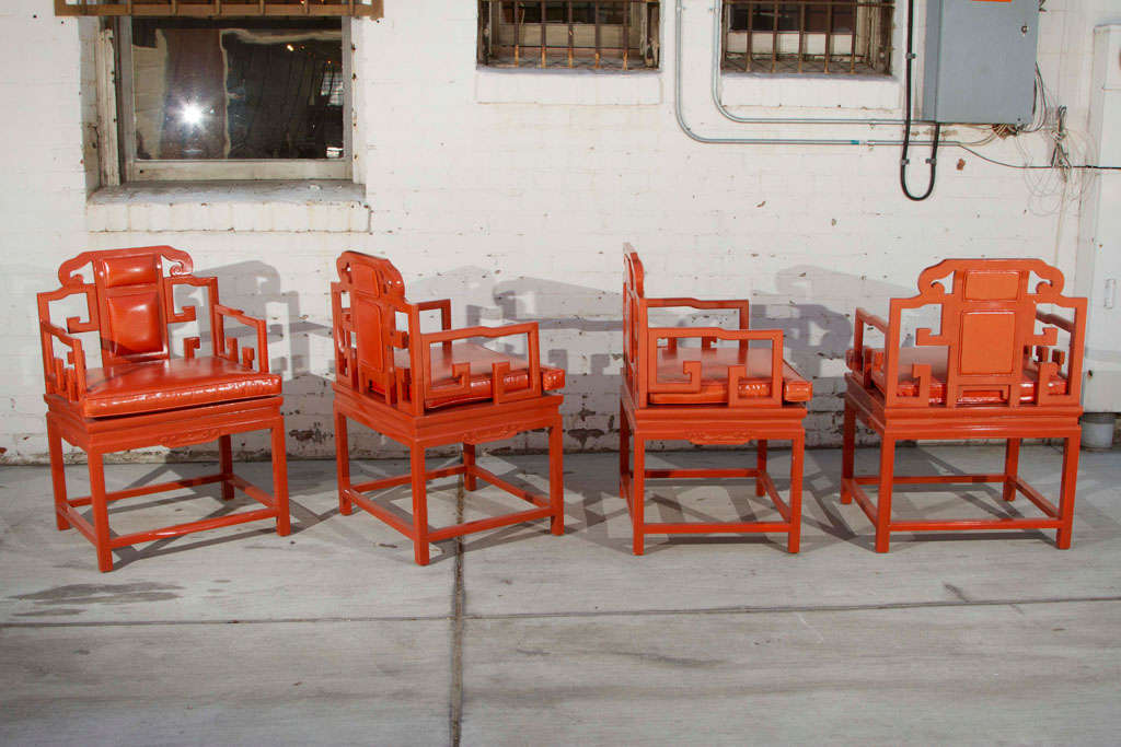 Chinoiserie Orange Lacquer Dining Set 7
