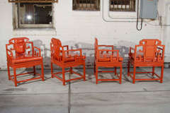 Chinoiserie Orange Lacquer Dining Set image 7