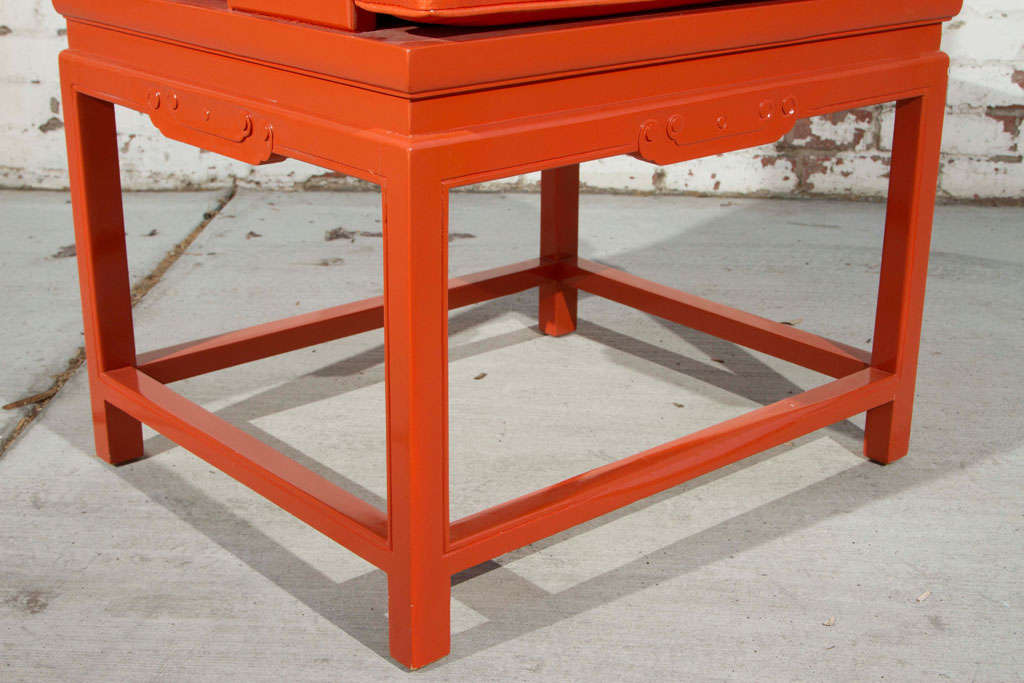 Chinoiserie Orange Lacquer Dining Set 8