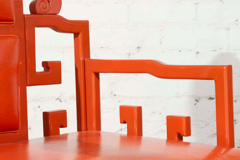 Chinoiserie Orange Lacquer Dining Set 9