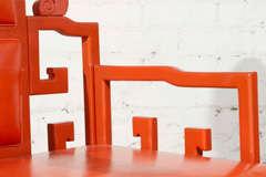 Chinoiserie Orange Lacquer Dining Set image 9