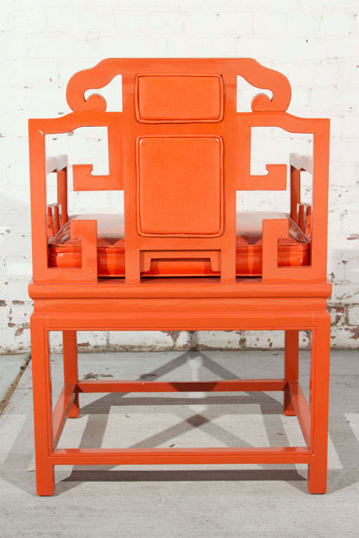 Chinoiserie Orange Lacquer Dining Set 10