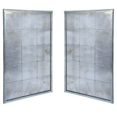 Pair of Antiqued Bevelled Panel Wall Mirrors