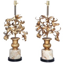 Pair of Gilded Iron Leaf Filled Urn Lamps
