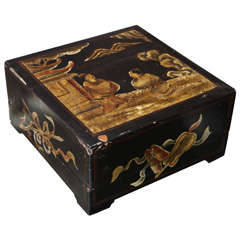 Stunning, large, 18th Century Chinese Painted Box