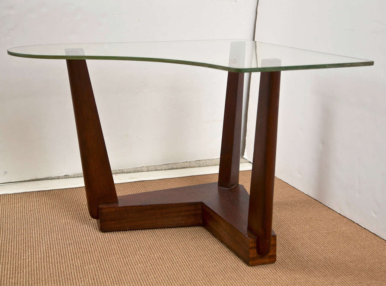Mid century wood base side tables with glass tops at 1stdibs - Wood table bases for glass tops ...