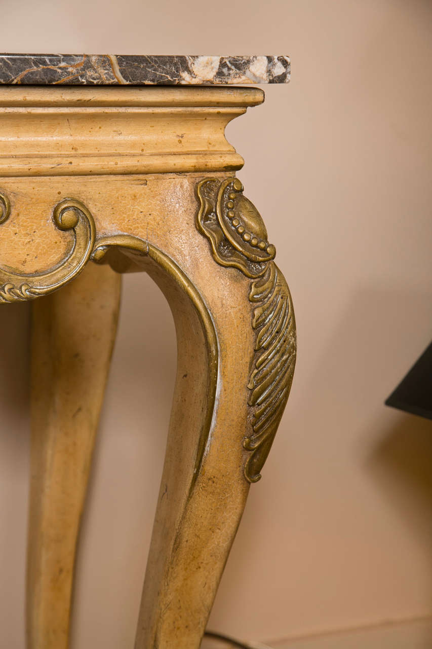 Engraved Limestone Inlay : Italian painted carved wood console with marble top at stdibs
