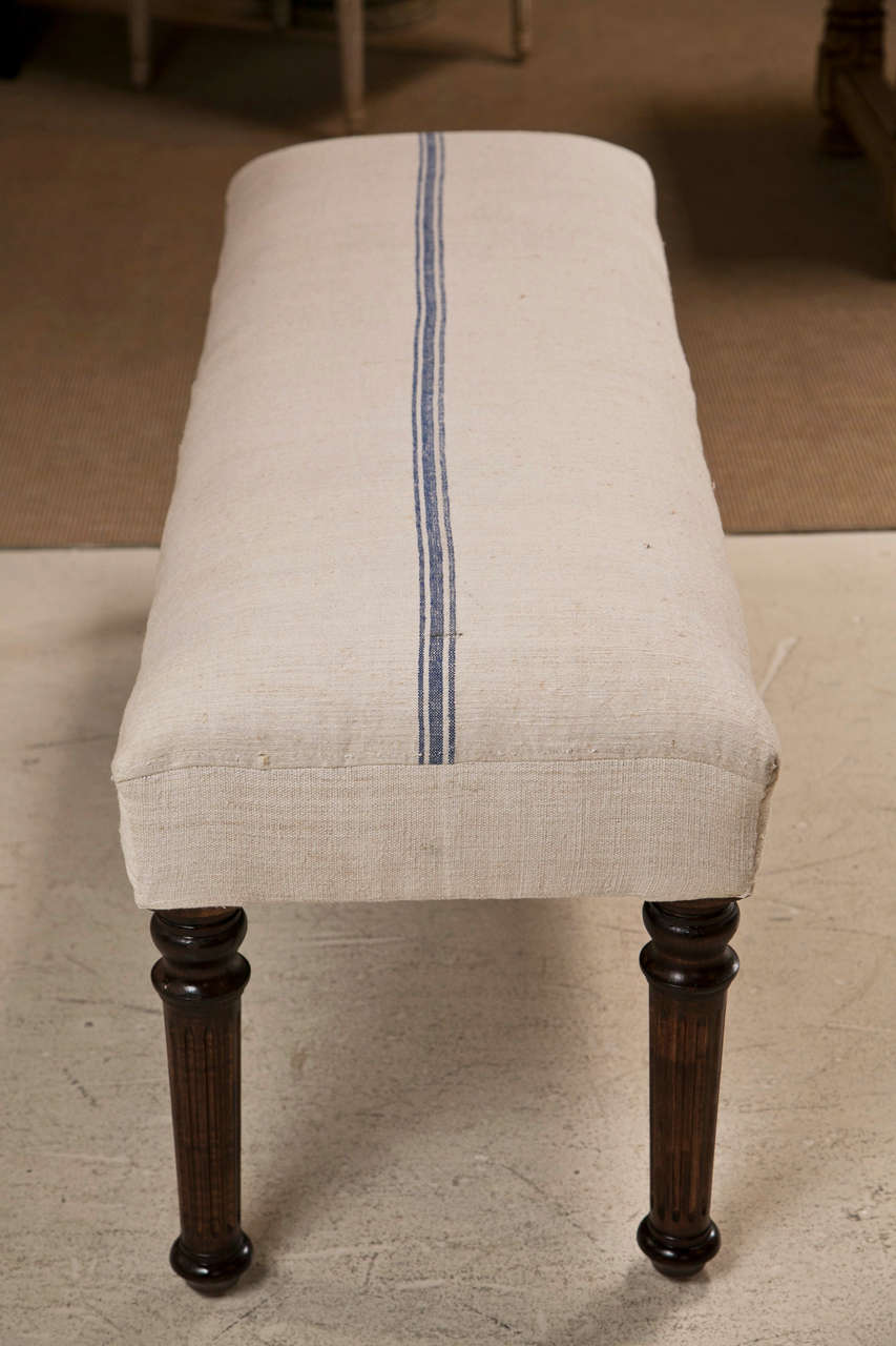 Mahogany Legged Bench Upholstered in Vintage French Grain Sack Fabric 1