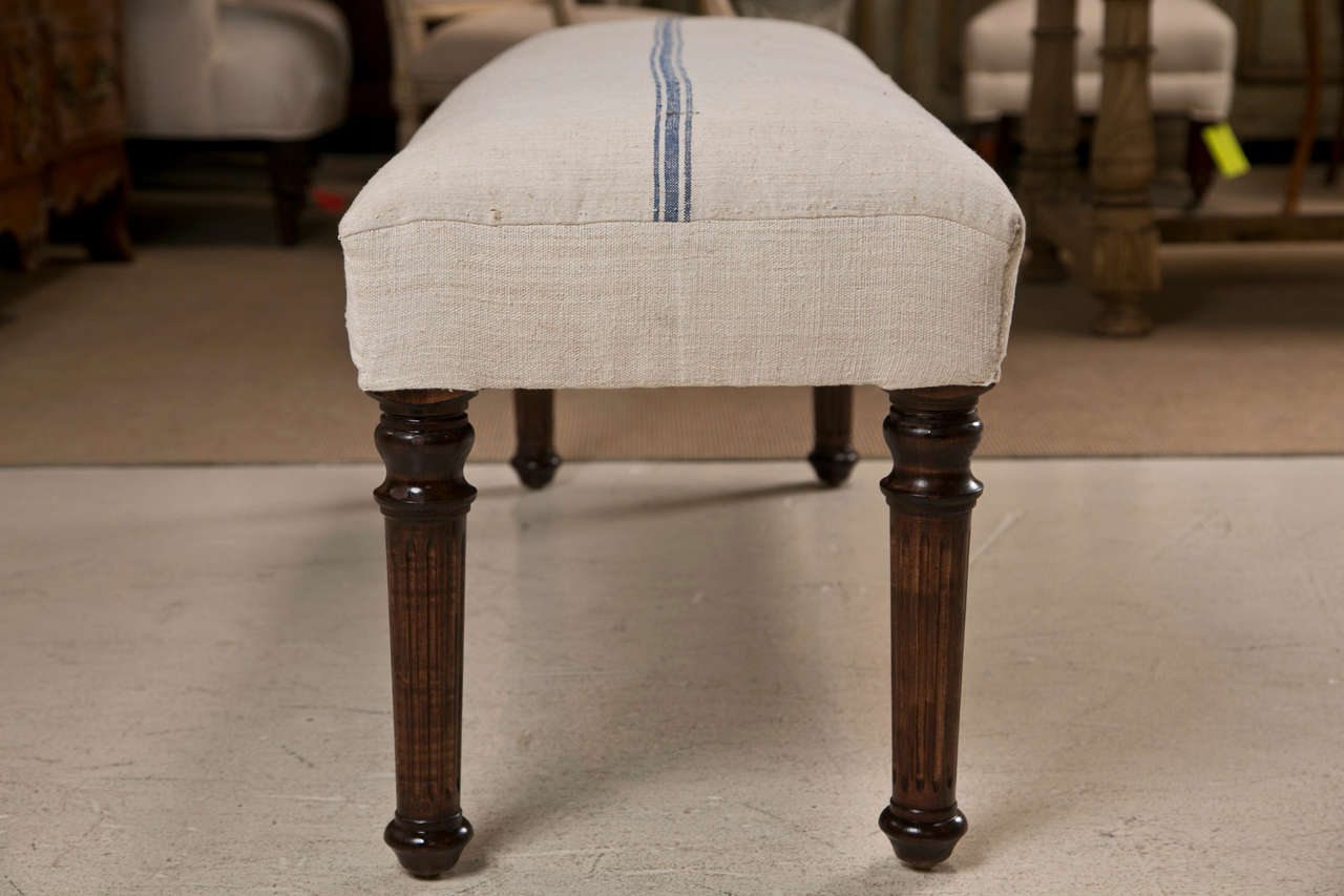 Mahogany Legged Bench Upholstered in Vintage French Grain Sack Fabric 2