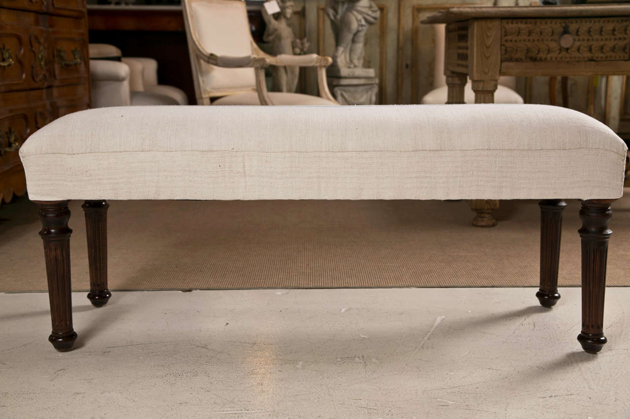 Mahogany Legged Bench Newly Upholstered in Vintage French Grain Sack Fabric