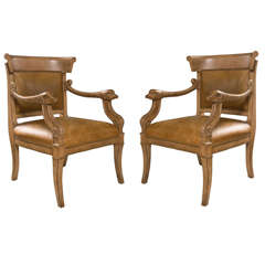 Pair of Louis XVI Style Dolphin Form Leather Side Chairs