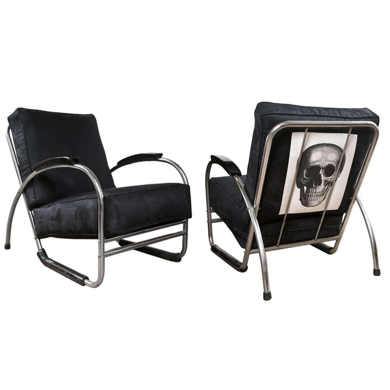 pair of bauhaus style royal chrome club chairs at 1stdibs. Black Bedroom Furniture Sets. Home Design Ideas