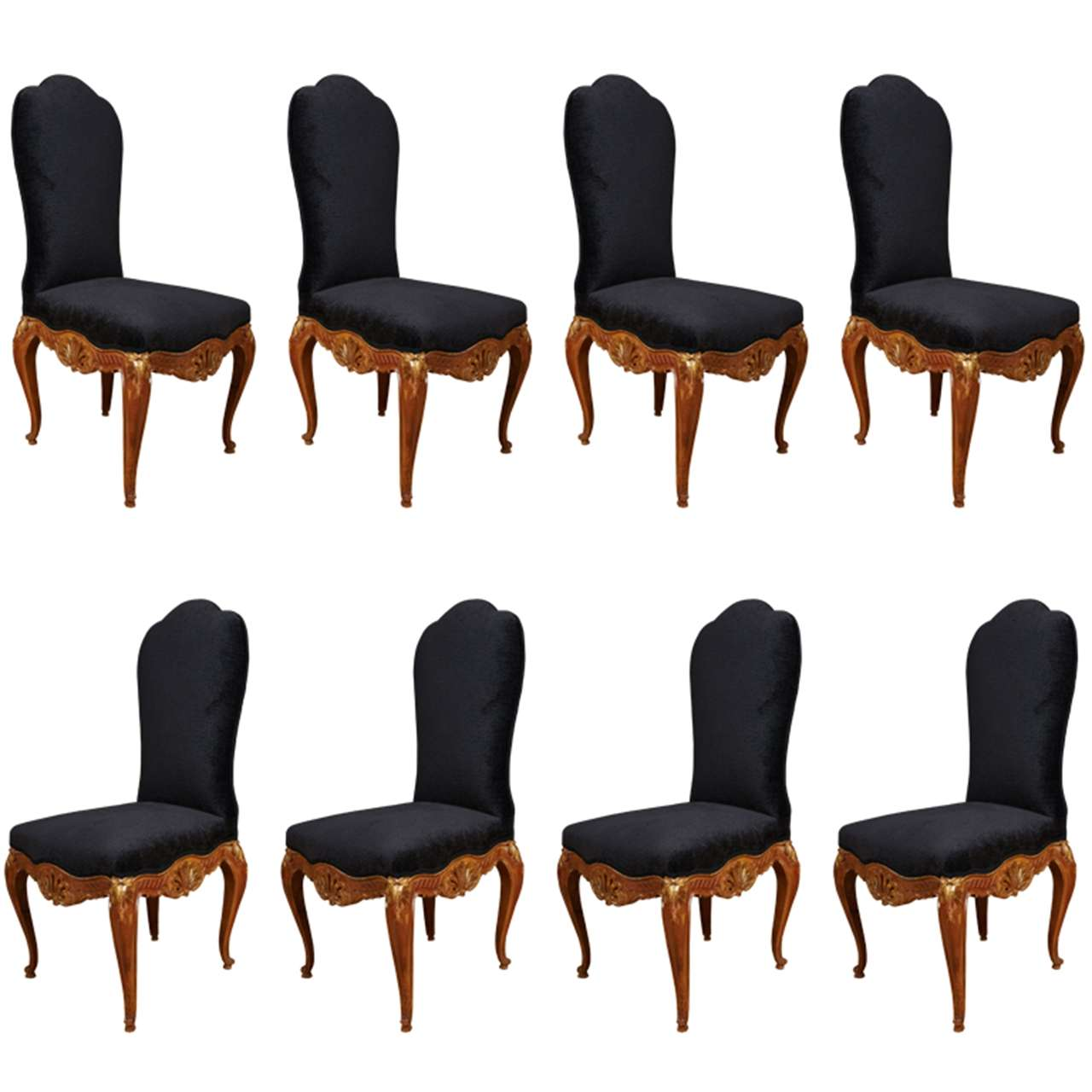 Rare set of 8 high back dining chairs by Jansen