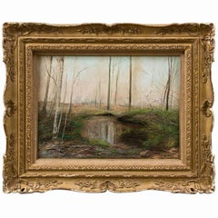 Signed Oil on Canvas of Landscape By Hamblen Titled Early Spring Reflections