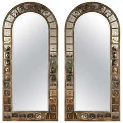 Pair of Decorative Dome Top Bubble Mirrors