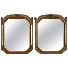 Fine Pair of Gilt Wooden Wall Mirrors Finely Carved Gold Frame With Open Sides