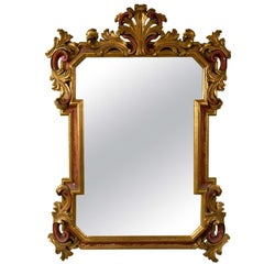 Gilt Gold and Paint Decorated Hollywood Regency Style Mirror Floral Leaf border