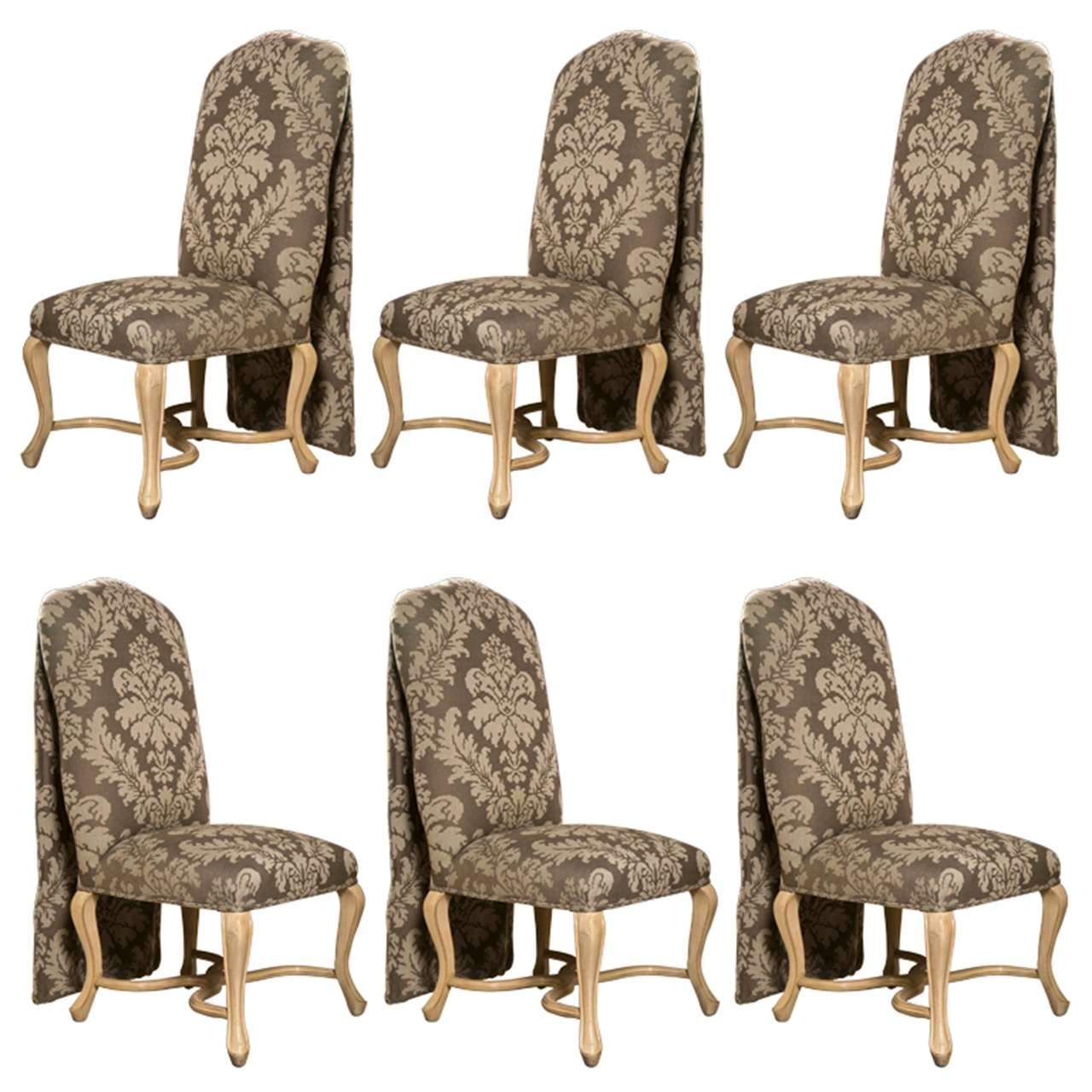 Set of Six Paint Decorated Dining Chairs by Kreis