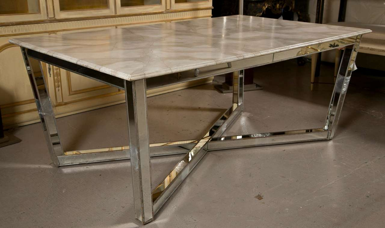 faux marble dining table Mirrored Base Faux Marble Top Dining Table at 1stdibs faux marble dining table