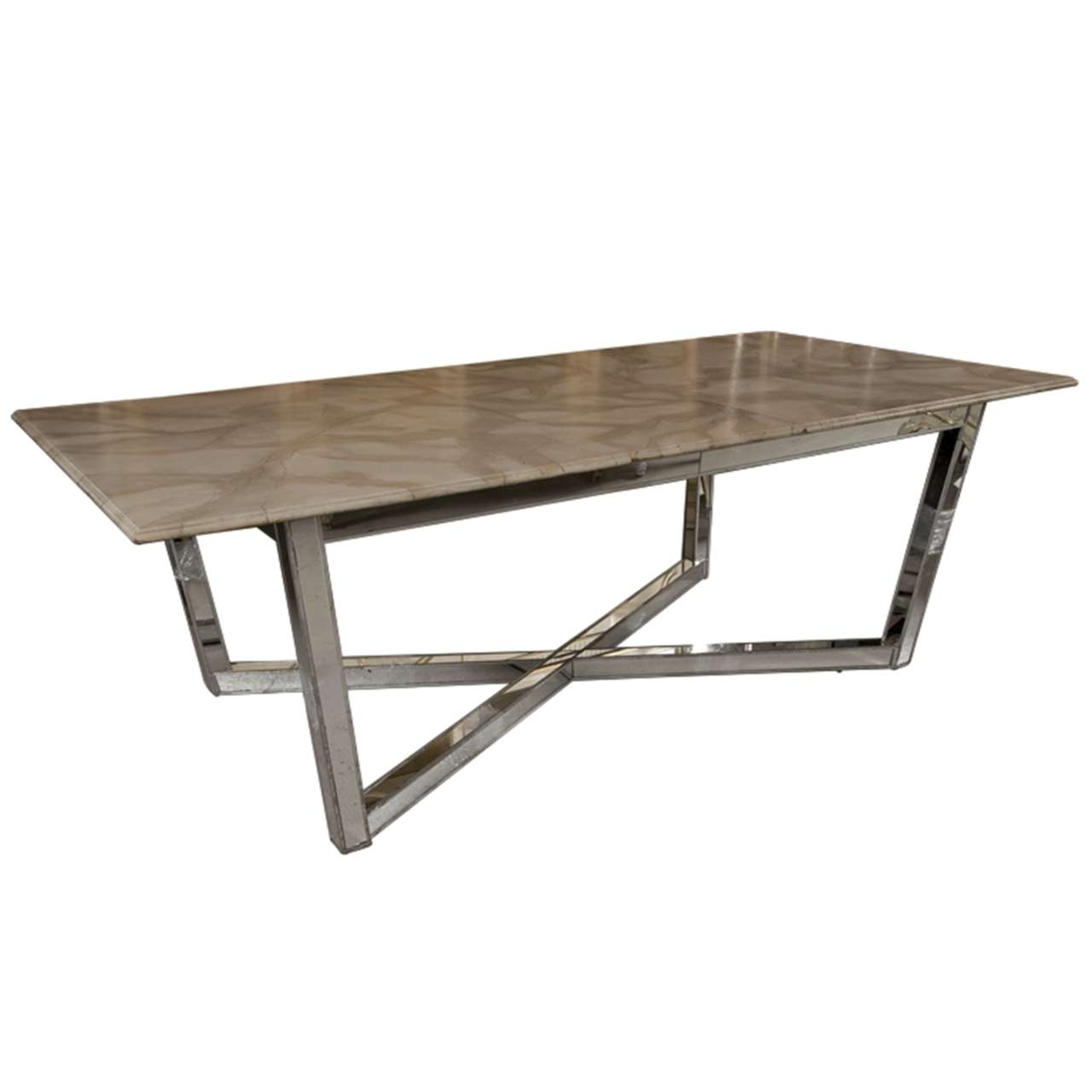 Mirrored base faux marble top dining table at 1stdibs for Biggest dining table