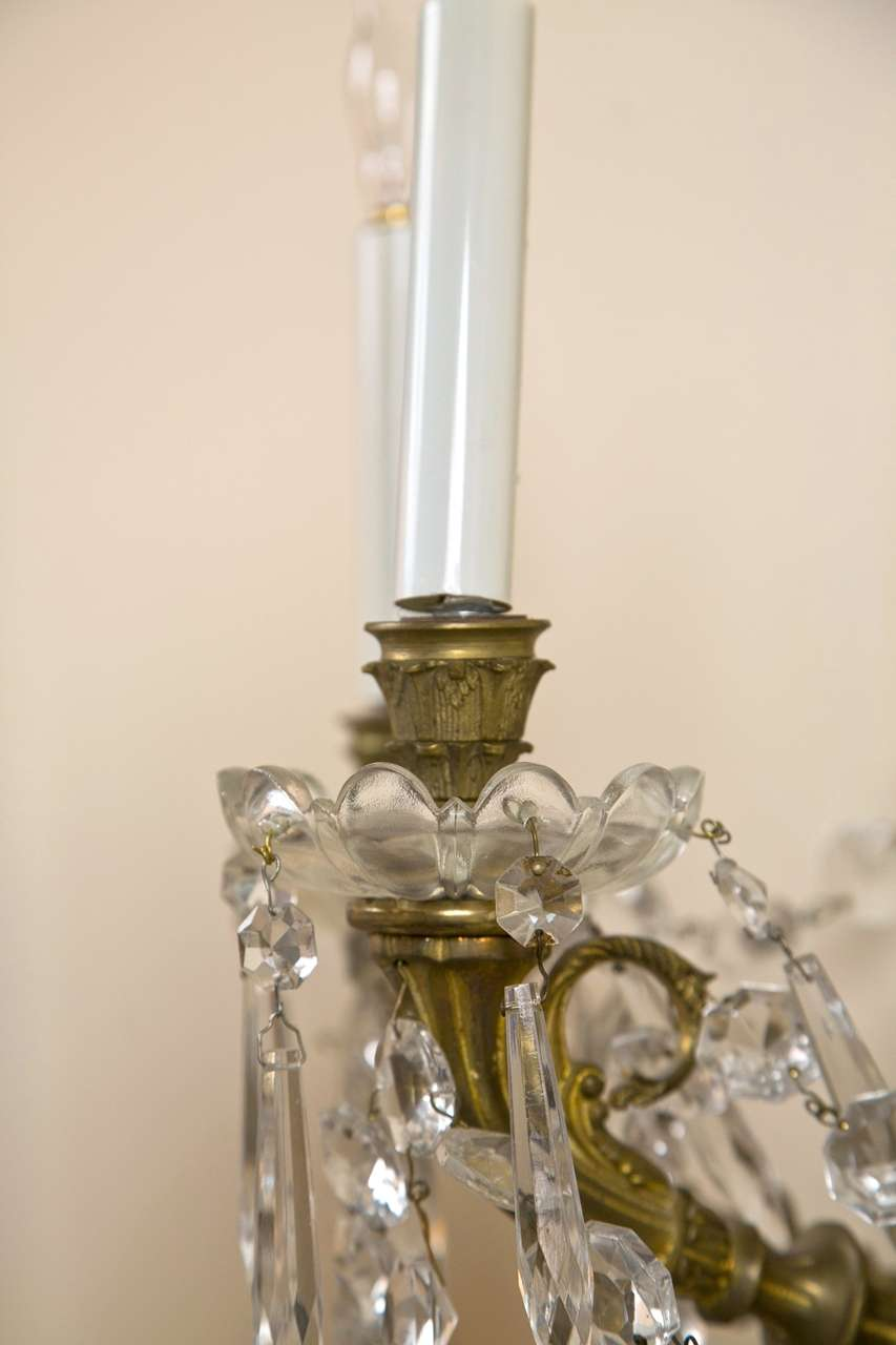 Brass Crystal Wall Sconces : Set of Four Brass and Crystal Wall Sconces at 1stdibs