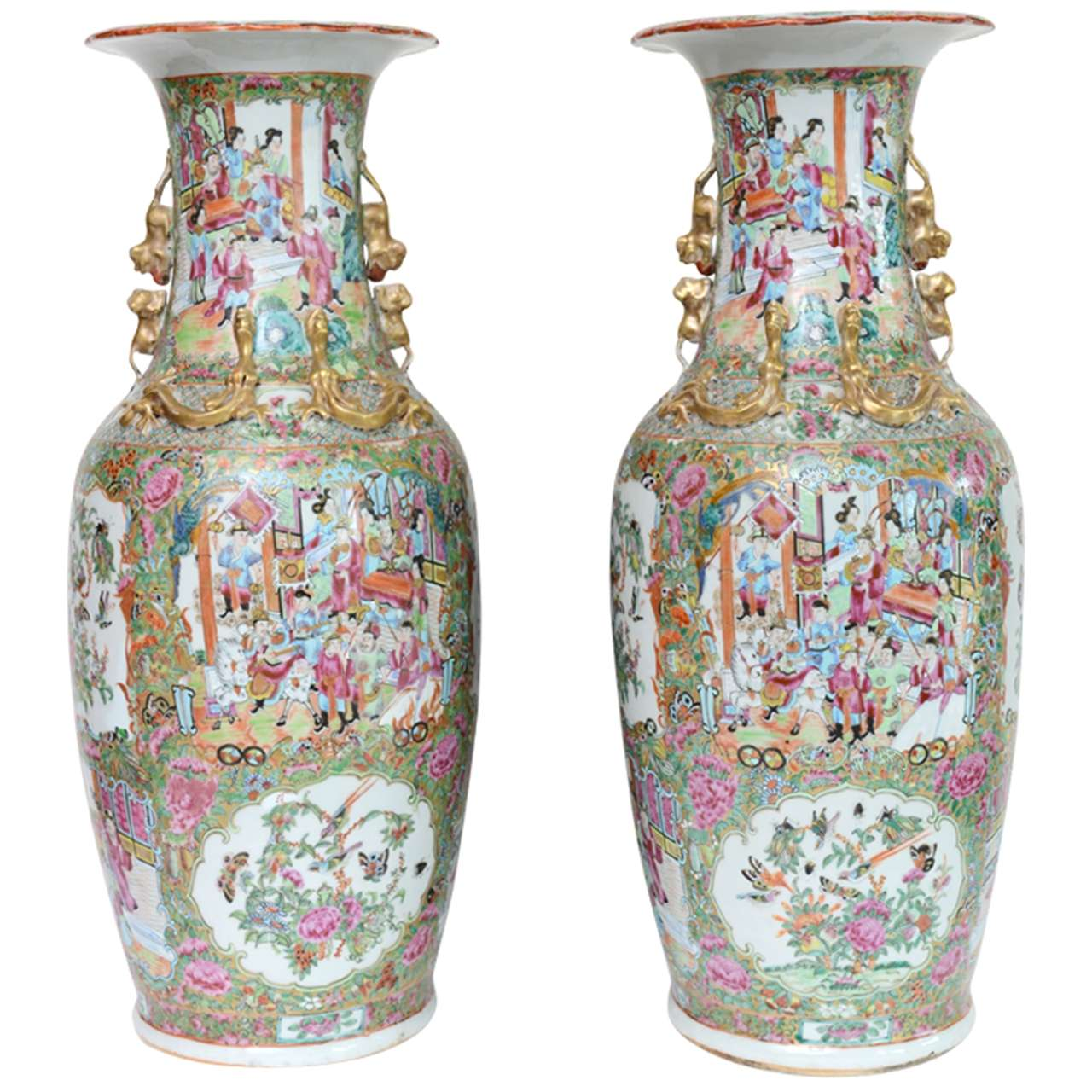 Pair chinese porcelain famille rose vases 24h 19th century at pair chinese porcelain famille rose vases 24h 19th century at 1stdibs reviewsmspy