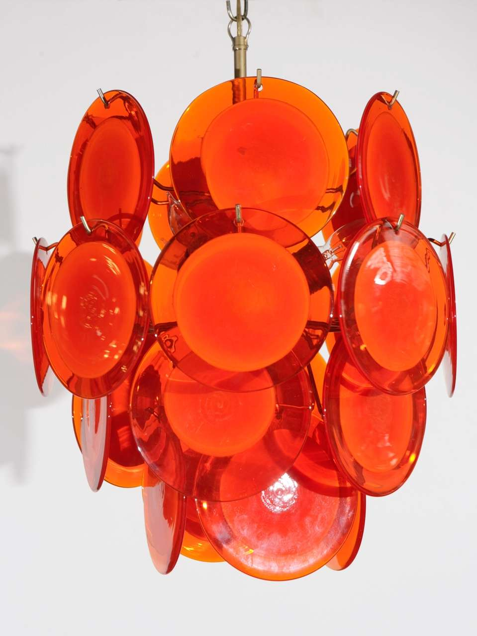 Orange Murano Glass Disc Chandelier image 2