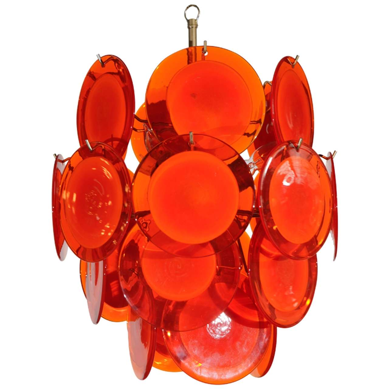 Orange Murano Glass Disc Chandelier
