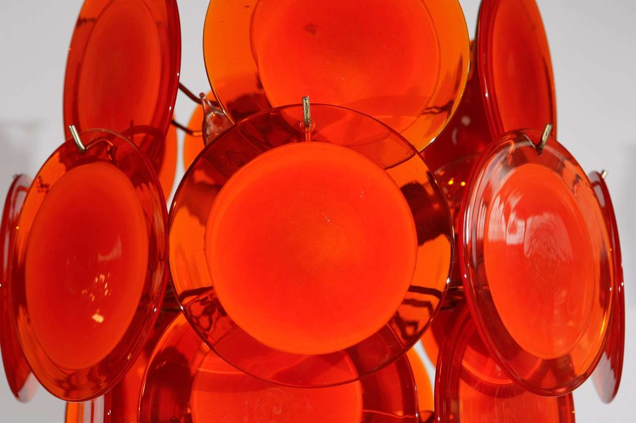 Orange Murano Glass Disc Chandelier image 3
