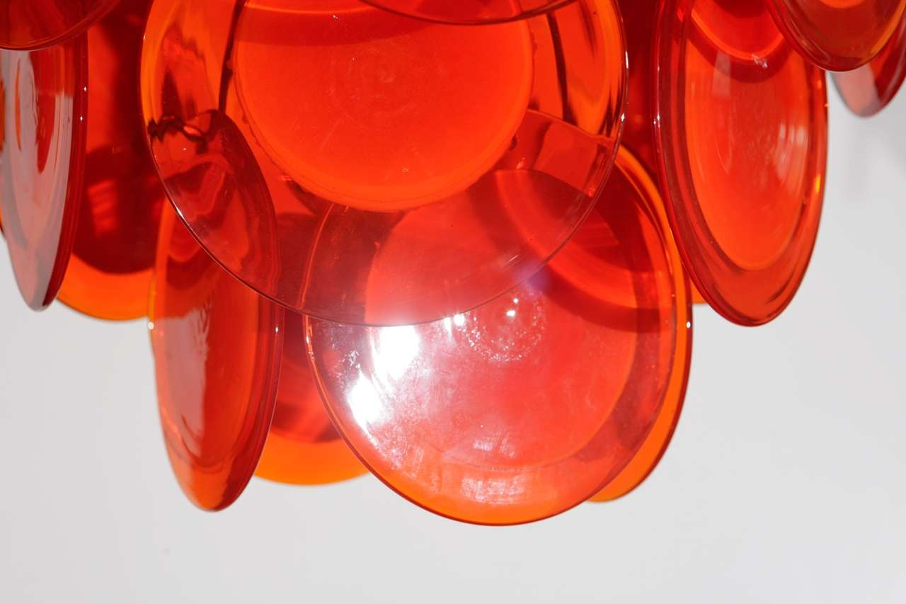 Orange Murano Glass Disc Chandelier image 4