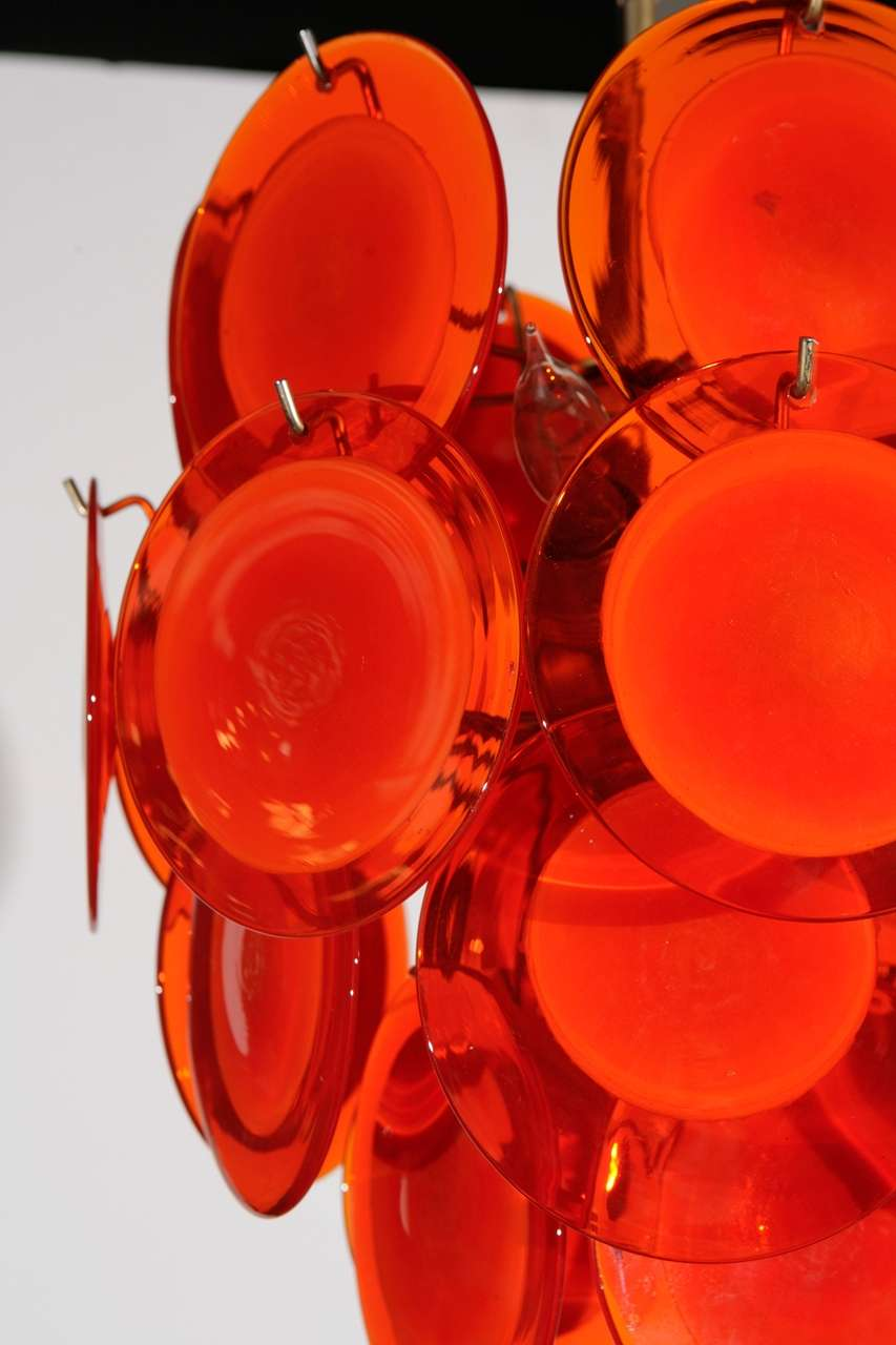 Orange Murano Glass Disc Chandelier image 5
