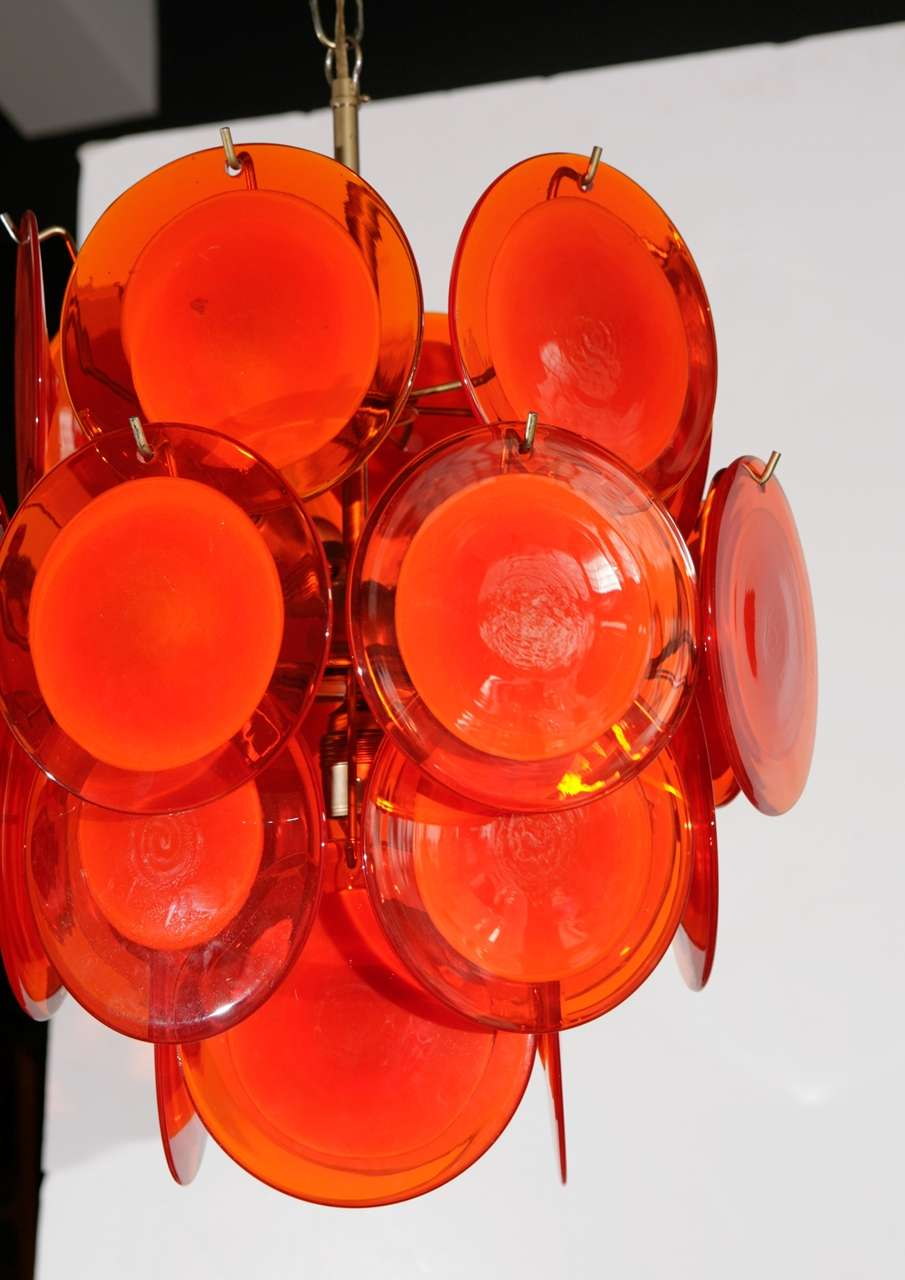 Orange Murano Glass Disc Chandelier image 6