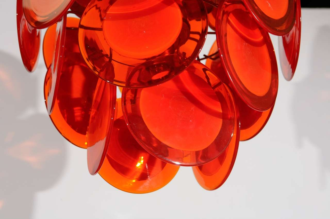 Orange Murano Glass Disc Chandelier image 7