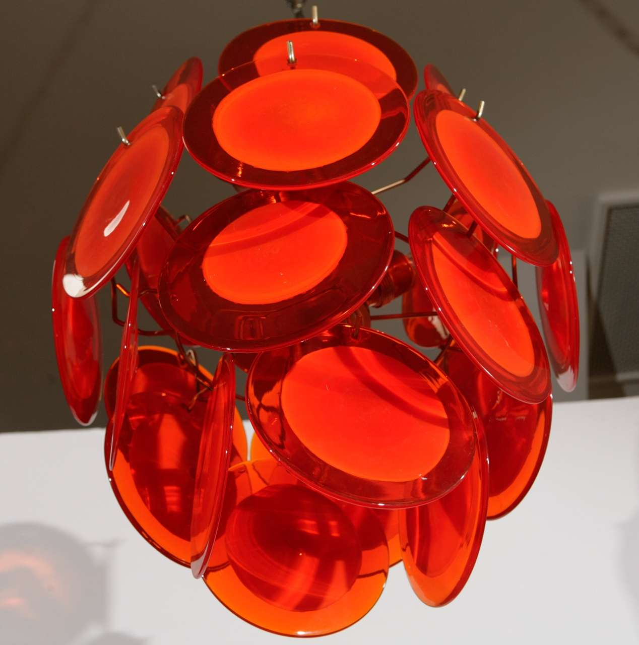 Orange Murano Glass Disc Chandelier image 8