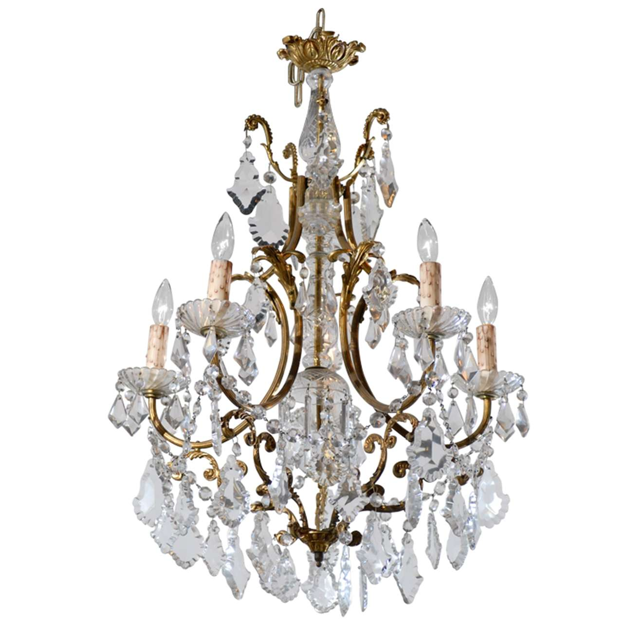 French Rococo Style Late 19th Century Six Light Crystal And Bronze Chandelier