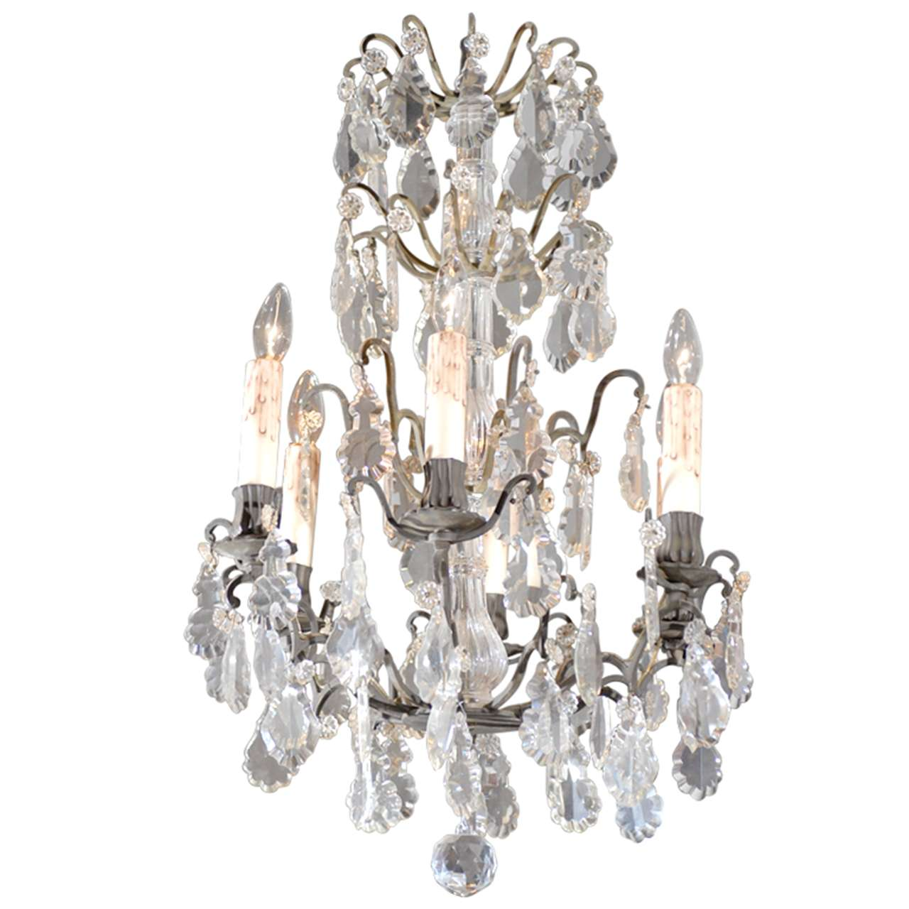 Rococo Revival French Six-Light Crystal Chandelier with Flower Bobeches, 1890s