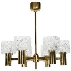 Orrefors Six-Light Brass Chandelier