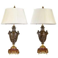 Antique Exquisite Pair Of Lamps