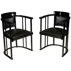 Pair of Vienna Secessionist Arm chairs by Josef Hoffmann