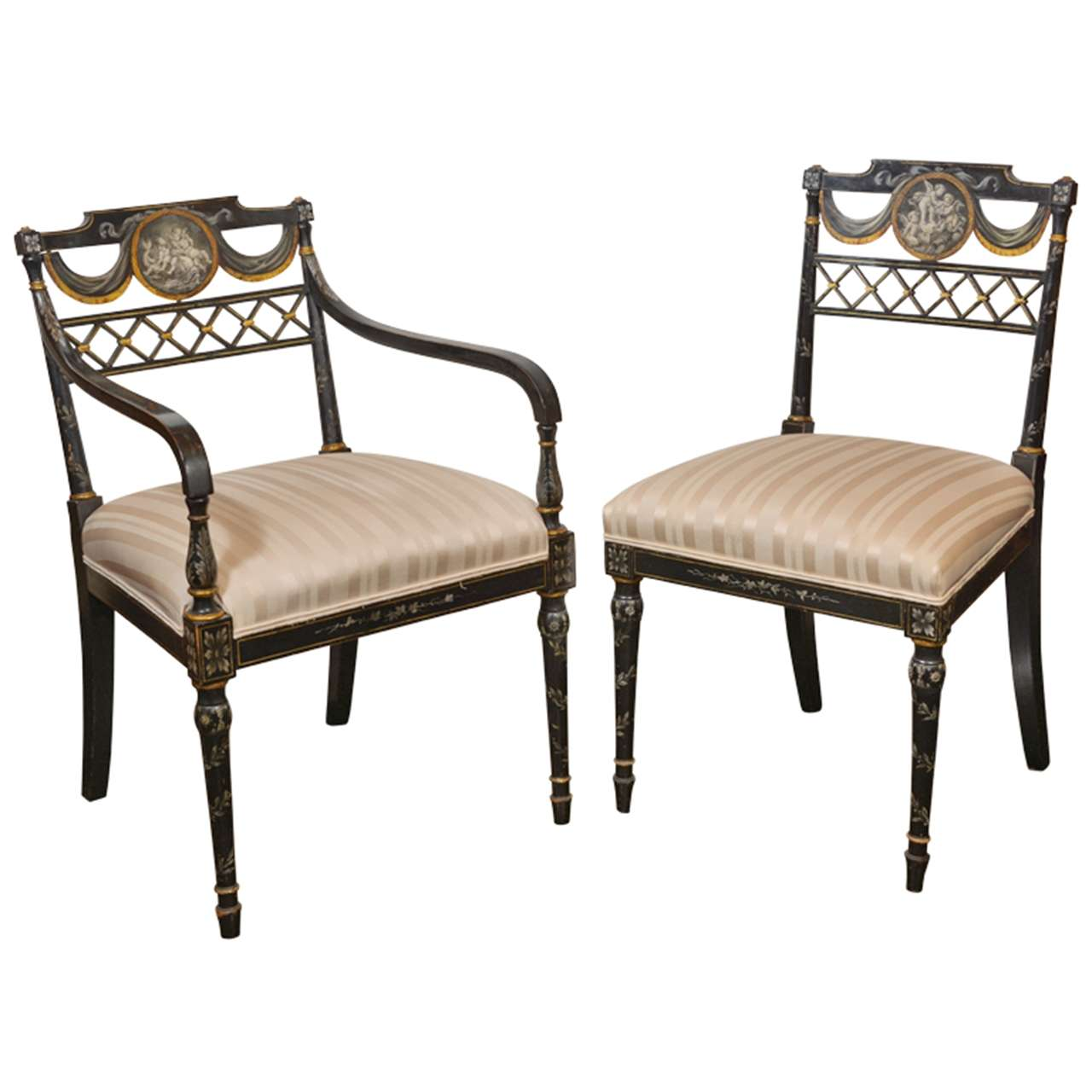 Set of Important Regency Period Black Lacquered Chairs