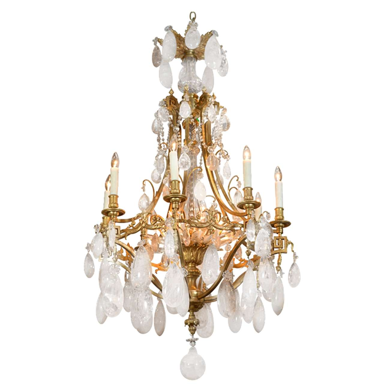 19th C Important Rock Crystal And Gilt Bronze Russian Chandelier