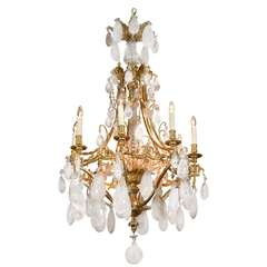 19th C Important Rock Crystal And Gilt Bronze French Chandelier