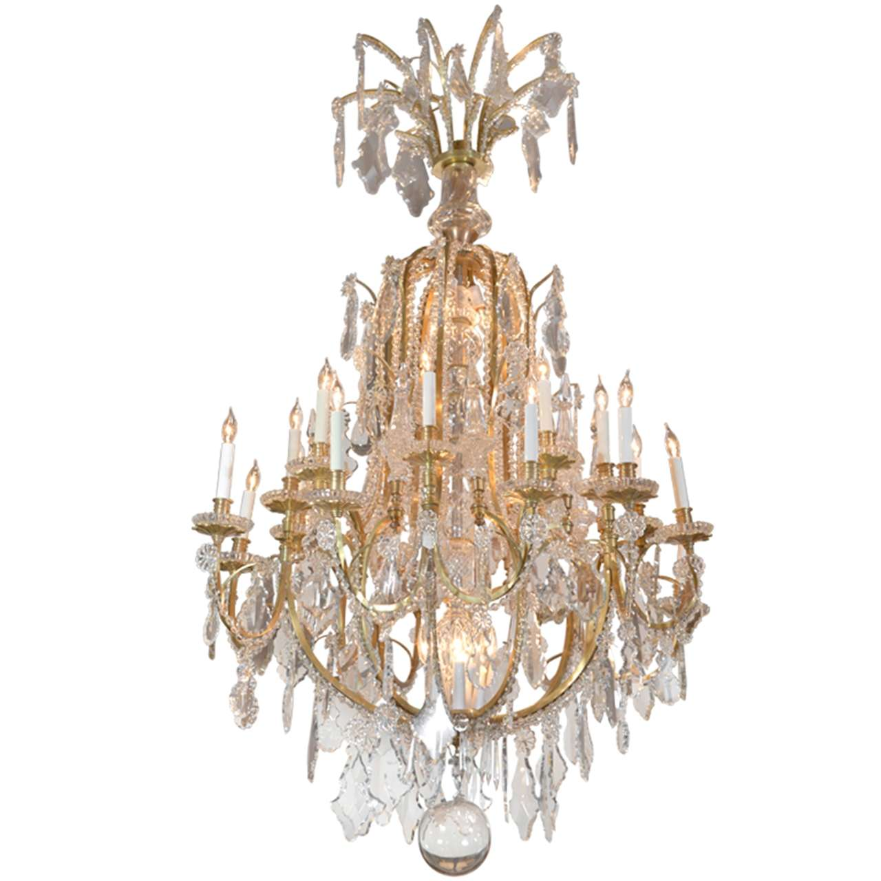 Important 19th c Baccarat and Crystal and bronze dore chandelier For Sale - Important 19th C Baccarat And Crystal And Bronze Dore Chandelier For