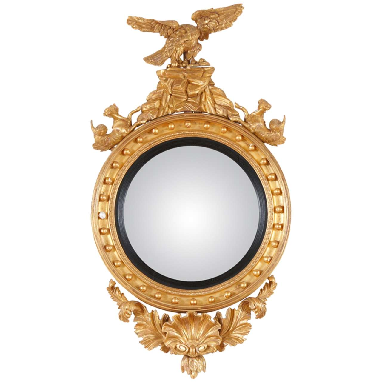 English giltwood convex mirror at 1stdibs for Convex mirror